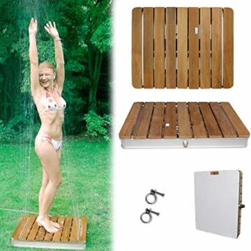 @tec Gartendusche Aussendusche aus massivem Teak-Holz, Mobile Bodendusche Campingdusche, Sauna- & Pool-Dusche mit Bodenplatte für den Garten, Outdoor Shower - eckig 70x55cm - 1