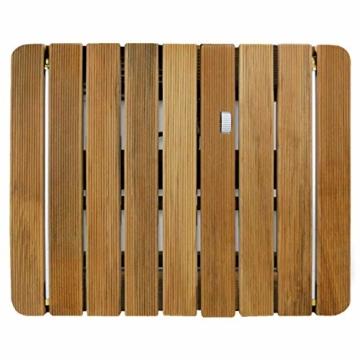 @tec Gartendusche Aussendusche aus massivem Teak-Holz, Mobile Bodendusche Campingdusche, Sauna- & Pool-Dusche mit Bodenplatte für den Garten, Outdoor Shower - eckig 70x55cm - 7