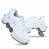 Tengda Deformation Schuhe Quad Skate Rollschuhe Skating Outdoor Sportschuhe Für Erwachsene Skate Roller Skating Outdoor-Sportarten Kinder Erwachsene Rollschuhe Mit Einer Radverformung,White-34 - 1
