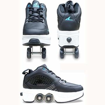 Tengda Rollschuhe Madchen Verstellbar Rollschuhe Verstellbar Kinder Inline-Skate, 2-in-1-mehrzweckschuhe, Verstellbare Quad-rollschuh-Stiefel,A-41 - 2