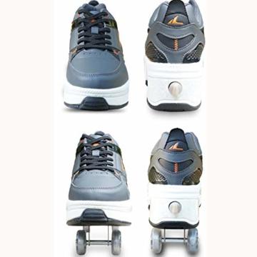 Tengda Rollschuhe Madchen Verstellbar Rollschuhe Verstellbar Kinder Inline-Skate, 2-in-1-mehrzweckschuhe, Verstellbare Quad-rollschuh-Stiefel,A-41 - 3
