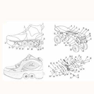 Tengda Rollschuhe Madchen Verstellbar Rollschuhe Verstellbar Kinder Inline-Skate, 2-in-1-mehrzweckschuhe, Verstellbare Quad-rollschuh-Stiefel,A-41 - 5