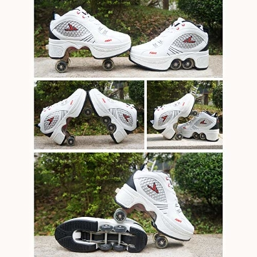 Tengda Rollschuhe Verstellbar Kinder Inline-Skate, 2-in-1-mehrzweckschuhe, Verstellbare Quad-rollschuh-Stiefel,E-38 - 6