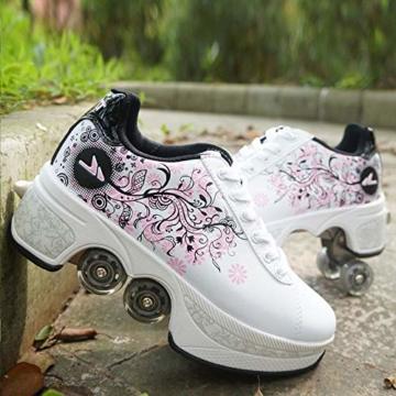 Tengda Rollschuhe Verstellbar Kinder Inline-Skate, 2-in-1-mehrzweckschuhe, Verstellbare Quad-rollschuh-Stiefel,H-35 - 1