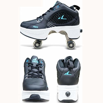Tengda Rollschuhe Verstellbar Kinder Inline-Skate, 2-in-1-mehrzweckschuhe, Verstellbare Quad-rollschuh-Stiefel,H-35 - 2