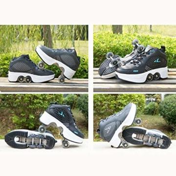 Tengda Rollschuhe Verstellbar Kinder Inline-Skate, 2-in-1-mehrzweckschuhe, Verstellbare Quad-rollschuh-Stiefel,H-35 - 4