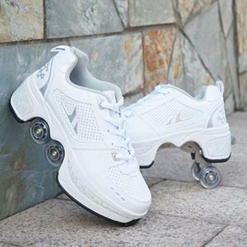 Tengda Rollschuhe Verstellbar Kinder Inline-Skate, 2-in-1-mehrzweckschuhe, Verstellbare Quad-rollschuh-Stiefel,E-38 - 1