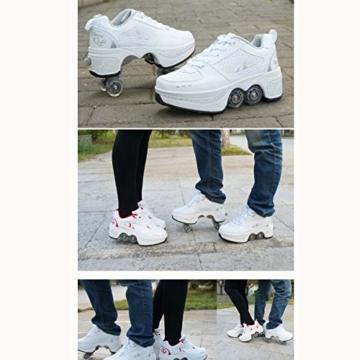 Tengda Rollschuhe Verstellbar Kinder Inline-Skate, 2-in-1-mehrzweckschuhe, Verstellbare Quad-rollschuh-Stiefel,E-38 - 2