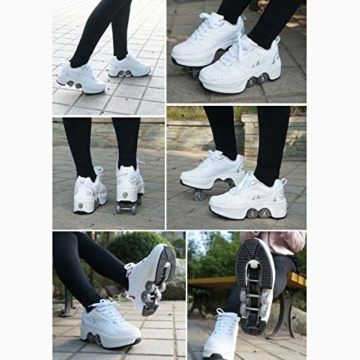 Tengda Rollschuhe Verstellbar Kinder Inline-Skate, 2-in-1-mehrzweckschuhe, Verstellbare Quad-rollschuh-Stiefel,E-38 - 3