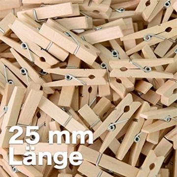 TK Gruppe Timo Klingler 100x Miniklammern - Größe 25 mm Mini Klammer Wäscheklammern Holzklammer aus echten Holz (100x) - 3