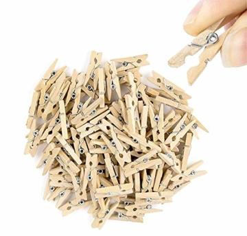 TK Gruppe Timo Klingler 100x Miniklammern - Größe 25 mm Mini Klammer Wäscheklammern Holzklammer aus echten Holz (100x) - 1