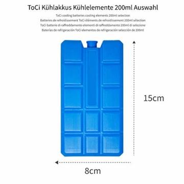 ToCi 4er Set Kühlakku mit je 200 ml | 4 Blaue Kühlelemente für die Kühltasche oder Kühlbox - 2
