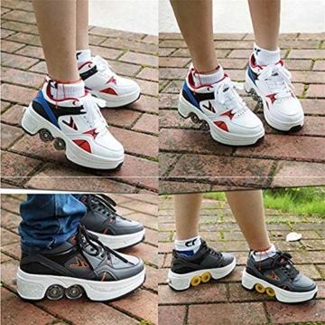 TOPENTAR Multifunktionale Deformation Schuhe Quad Skate Rollschuhe Skating Outdoor Sportschuhe für Erwachsene (39, Weiß rot) - 3