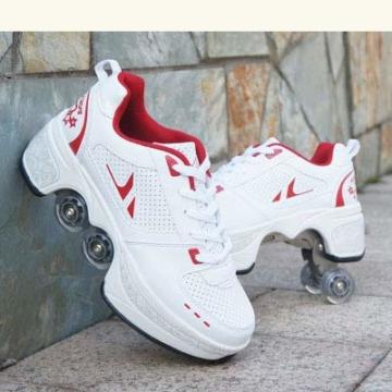 TOPENTAR Multifunktionale Deformation Schuhe Quad Skate Rollschuhe Skating Outdoor Sportschuhe für Erwachsene (39, Weiß rot) - 1