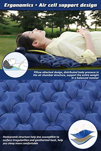 Volador Selbstaufblasbare Isomatte, Handpresse Aufblasbare Ultralight Isomatten Camping Schlafmatte, wasserdichte Feuchtigkeitsbeständige Campingmatratze, Luftmatratze kompakte für Outdoor Dunkelblau - 4