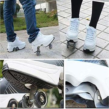 WWWlck Deformation Schuhe Kinder Studenten Rollschuhe Quad Skateboard Schuhe Skaten Outdoor-Sport Rollschuhe Faul Reisemodus,Weiß,41 - 4