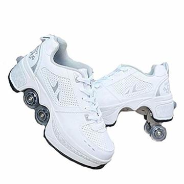 WWWlck Deformation Schuhe Kinder Studenten Rollschuhe Quad Skateboard Schuhe Skaten Outdoor-Sport Rollschuhe Faul Reisemodus,Weiß,41 - 1
