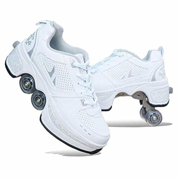 WYEING. Deformation Roller Schuhe Kinder Studenten Roller Schuhe Skateboard Schuhe Skating Outdoor Sports Rollschuhe Lazy Travel,Weiß,33 - 1