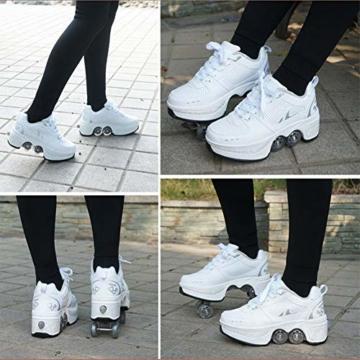 WYEING. Inline-Skate, 2-In-1-Mehrzweckschuhe, Verstellbare Quad-Rollschuh-Stiefel, Multifunktionale Deformation Schuhe Quad Skate Rollschuhe Skating Outdoor Sportschuhe Für Erwachsene,Weiß,39 - 6