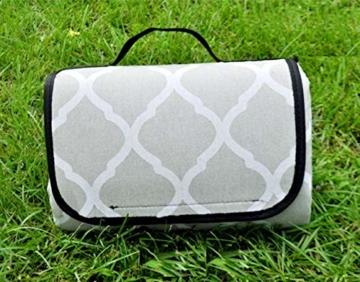 X-Labor Waschbar Baumwolle Leinen Picknick Decke 200x150 cm XXL mit wasserdichter PEVA Unterseite Wärmeisoliert Stranddecke Campingdecke Grau Welle - 3
