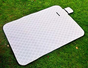 X-Labor Waschbar Baumwolle Leinen Picknick Decke 200x150 cm XXL mit wasserdichter PEVA Unterseite Wärmeisoliert Stranddecke Campingdecke Grau Welle - 4
