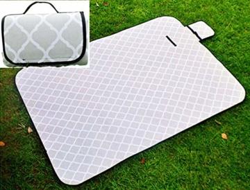 X-Labor Waschbar Baumwolle Leinen Picknick Decke 200x150 cm XXL mit wasserdichter PEVA Unterseite Wärmeisoliert Stranddecke Campingdecke Grau Welle - 1