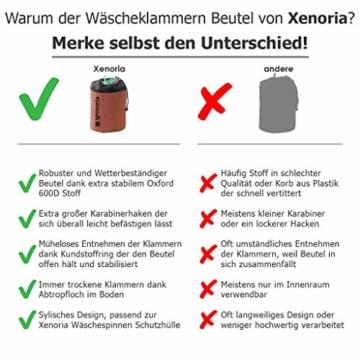 Xenoria Premium Wäscheklammern Beutel für bis zu 250 Klammern | mit Haken zum aufhängen | aus stapazierfähigem Stoff Indoor und Outdoor geeignet. (Living Coral) - 3
