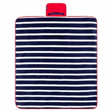 Yello Fleece faltbar Outdoor Picknickdecke Wasserdichte Unterseite–Blau gestreift - 2