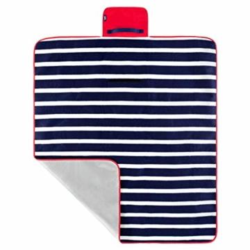 Yello Fleece faltbar Outdoor Picknickdecke Wasserdichte Unterseite–Blau gestreift - 3