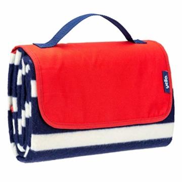 Yello Fleece faltbar Outdoor Picknickdecke Wasserdichte Unterseite–Blau gestreift - 9