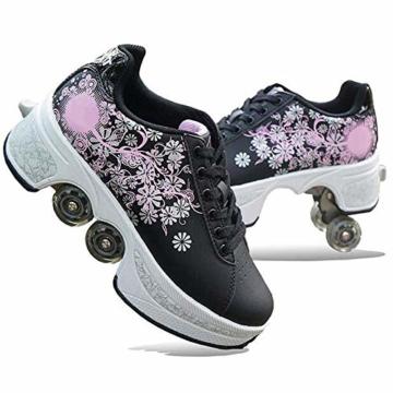YXRPK Deformation Roller Schuhe Kinder Studenten Skateboard Skating Einstellbare, Sicher Und Bequem, Fitness, Starke Vorderradbremsen, Sehr Stabil Und Leicht Zu Erlernen,35 - 1
