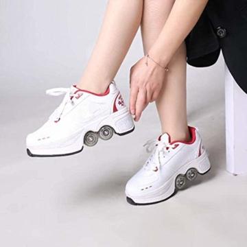 YXRPK Schuhe Skate Rädern Deformation Sportschuhe 2 in 1 Multifunktions 4 Rad Verstellbare Rollschuhe, Kann Fitness Sein, Sehr Stabil Und Leicht Zu Erlernen,33 - 2