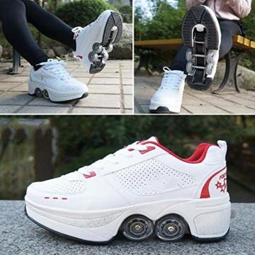 YXRPK Schuhe Skate Rädern Deformation Sportschuhe 2 in 1 Multifunktions 4 Rad Verstellbare Rollschuhe, Kann Fitness Sein, Sehr Stabil Und Leicht Zu Erlernen,33 - 3