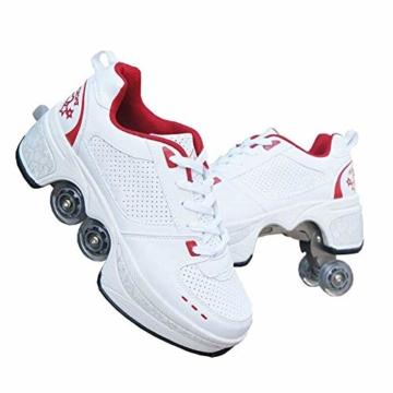 YXRPK Schuhe Skate Rädern Deformation Sportschuhe 2 in 1 Multifunktions 4 Rad Verstellbare Rollschuhe, Kann Fitness Sein, Sehr Stabil Und Leicht Zu Erlernen,33 - 1