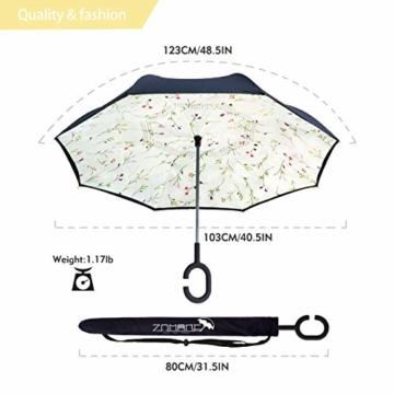 ZOMAKE Inverted Stockschirme, Innovative Schirme Double Layer, Winddicht Regenschirm, Freie Hand,Umgedrehter Regenschirm mit C Griff für Auto Outdoor (Kleine Gemüsesämlinge) - 2