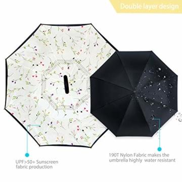 ZOMAKE Inverted Stockschirme, Innovative Schirme Double Layer, Winddicht Regenschirm, Freie Hand,Umgedrehter Regenschirm mit C Griff für Auto Outdoor (Kleine Gemüsesämlinge) - 3
