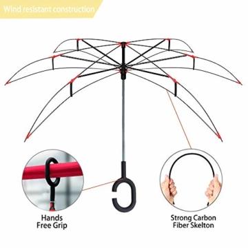 ZOMAKE Inverted Stockschirme, Innovative Schirme Double Layer, Winddicht Regenschirm, Freie Hand,Umgedrehter Regenschirm mit C Griff für Auto Outdoor (Kleine Gemüsesämlinge) - 4