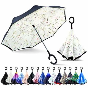 ZOMAKE Inverted Stockschirme, Innovative Schirme Double Layer, Winddicht Regenschirm, Freie Hand,Umgedrehter Regenschirm mit C Griff für Auto Outdoor (Kleine Gemüsesämlinge) - 1
