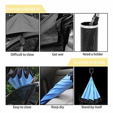 ZOMAKE Inverted Stockschirme, Innovative Schirme Double Layer, Winddicht Regenschirm, Freie Hand,Umgedrehter Regenschirm mit C Griff für Auto Outdoor (Kleine Gemüsesämlinge) - 5