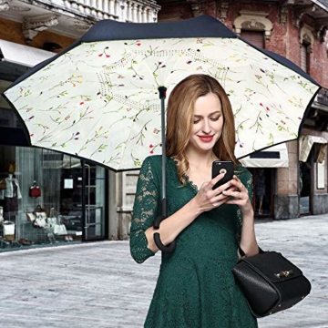 ZOMAKE Inverted Stockschirme, Innovative Schirme Double Layer, Winddicht Regenschirm, Freie Hand,Umgedrehter Regenschirm mit C Griff für Auto Outdoor (Kleine Gemüsesämlinge) - 6