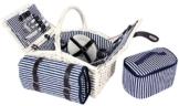 4 und 2 Personen Weiden Picknickkorb Picknickkoffer Set mit Decke, Besteck, Wein Gläser, Teller (4 Perosnen mit Picknickdecke und Kühltasche Weiß) - 1