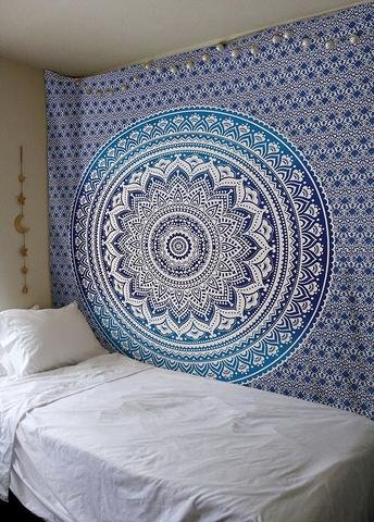 Aakriti Gallery Tapestry Queen Ombre Hippie Tapestries Mandala Bohemian Psychedelic Intricate Indian Bedspread 92x82 Inches (Blue) - 2