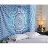 Aakriti Gallery Tapestry Queen Ombre Hippie Tapestries Mandala Bohemian Psychedelic Intricate Indian Bedspread 92x82 Inches (Blue) - 1