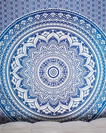 Aakriti Gallery Tapestry Queen Ombre Hippie Tapestries Mandala Bohemian Psychedelic Intricate Indian Bedspread 92x82 Inches (Blue) - 3