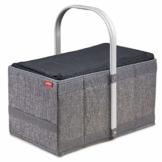 achilles Handle-Box Cool Einkaufs-Korb mit Kühl-Einsatz Picknick-Korb mit Aluminium Griff Kühl-Tasche herausnehmbar Klapp-Box Trage-Korb Falt-Tasche Grau 40 cm x 24 cm x 20 cm - 1