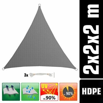 AMANKA UV Sonnensegel - 2x2x2 m HDPE Dreieck - Sonnenschutz Plane Überdachung Balkon Garten Grau - 1