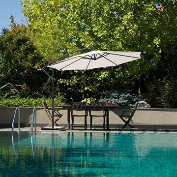 Ampelschirm Ø300cm Sonnenschirm mit Kurbelvorrichtung, 8 Rippen Gartenschirm Kurbelschirm Strandschirm, UV-Schutz wasserabweisend,für Garten Balkon Terasse Camping Schwimmbad Loggia (Beige) - 7