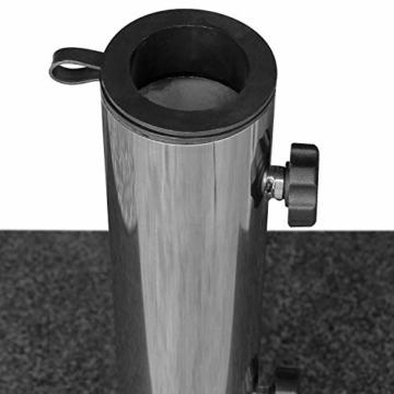 anndora Granit Sonnenschirmständer 40kg rollbar 45x45cm Adapter 48, 38mm - Dunkelgrau Poliert - 2