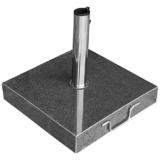 anndora Granit Sonnenschirmständer 40kg rollbar 45x45cm Adapter 48, 38mm - Dunkelgrau Poliert - 1