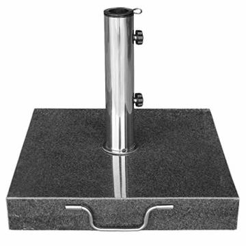 anndora Granit Sonnenschirmständer 40kg rollbar 45x45cm Adapter 48, 38mm - Dunkelgrau Poliert - 3